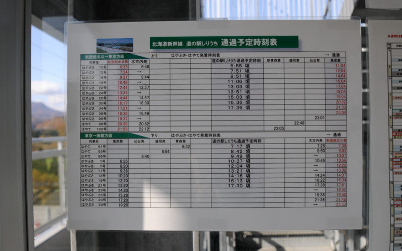 新幹線展望塔 通過予定時刻表